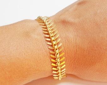 Gold Fishtail Bracelet - Gold Fish Bone Chain