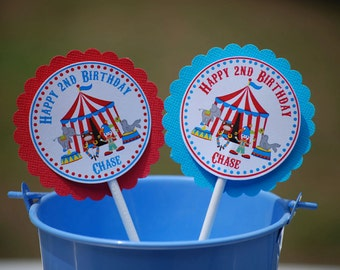 Circus Carnival Cupcake Toppers - Set of 12 Personalized Birthday Party Decorations