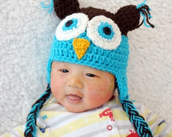 Owl Hat, Crochet Baby Hat, Baby Hat, Animal Hat, Blue, Pink, photo prop