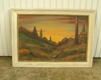 HILLSIDE AT SUNRISE Framed And Signed Impressionist Plein Air Landscape