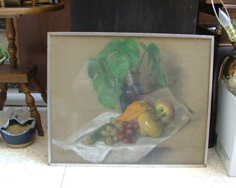 Midcentury PASTEL STILL LIFE Fruit And Green Plant