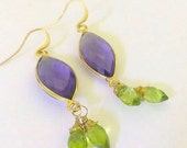 Earrings Amethest and Peridot wrapped with 14k Gold