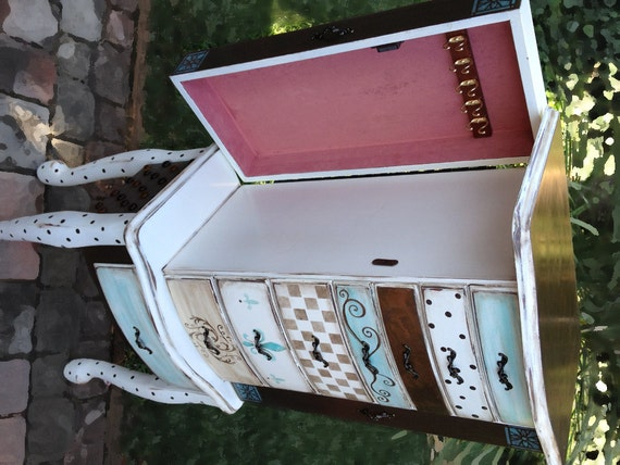 Items similar to Jewelry Armoire, hand painted, SLEEPING ...