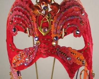 Red Orange Masquerade Mask