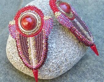 Red Art Deco Clip Earrings, Beadwork Statement