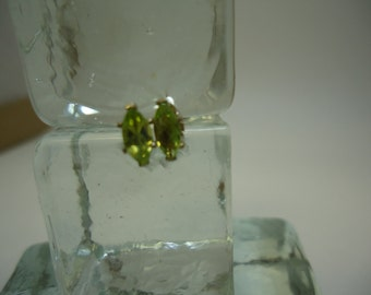 Marquise Cut Peridot Earrings in Sterling Silver  #911
