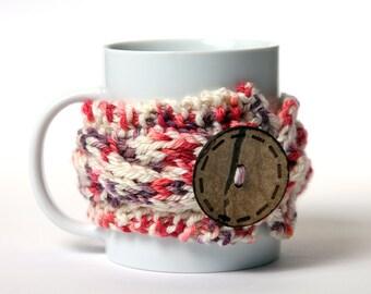 Coffee cozy, Tea cup, Knitted mug cozy, tea cup cozy,  coffee sleeve, white, pink, warmer