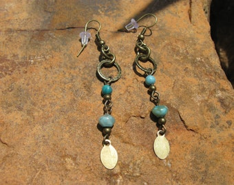 Boho Turquoise Jasper Flutter Earrings, Antique Bronze