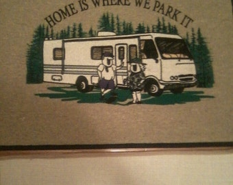 Decor door mat with saying  Home is where we park it