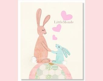 Bunny Nursery Prints, Baby Girl Nursery Art, Pastel Nursery Decor, Bunnies Prints, Pink Nursery Decor, Rabbit Nursery Art