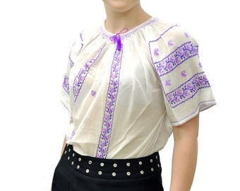 Romanian traditional blouse with purple embroidery for spring/ summer