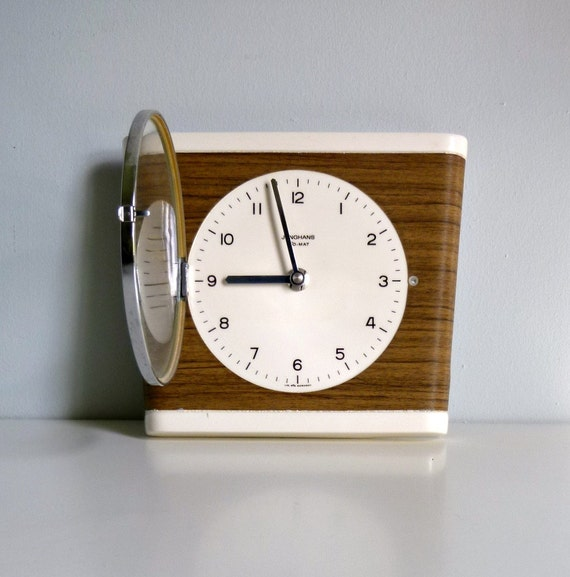 reserved for itsoh mid century modern wall clock faux wood bois