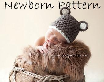 Crochet Pattern - 2- Newborn Chunky Bear Beanie - Instant Download