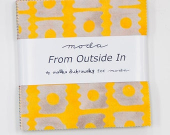 "From Outside In Charm Pack by Malka Dubrawsky for Moda 5"" Pre~Cut Squares in 42 Prints"