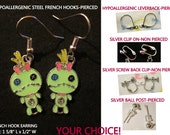 Scrump Earrings -CHOICE- Hypoallergenic French Hook Leverback Post Pierced OR Clip On