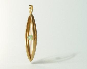 """14k Yellow Gold and Ethiopian Welo Opal Pendant, """"Float"""""""