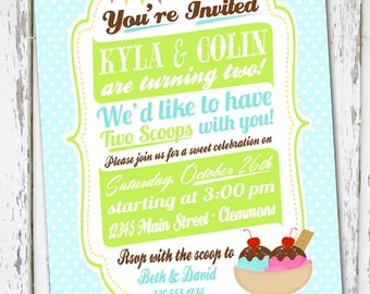 Twins Baby Birthday Invitation