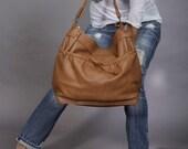 Slouchy leather purse - brown leather bag - Large leather shoulder bag - cross body hobo bag - laptop bag