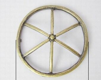 Pendants Connectors Wheel Pendants Antiqued Bronze Connectors Wholesale Bulk Pendants-50pcs