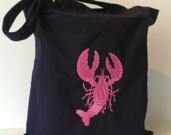 LOBSTER tote beach bag professionally embroidered choose any tote in my shop section and any thread color
