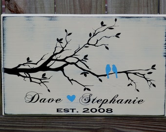 Love Bird Established Date Personalized Wedding Gift, Engagement Gift, Anniversary Gift, Important Date Custom Wood Sign
