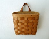 Vintage Wooden Bike Basket with Leather Handle - LooktotheLady