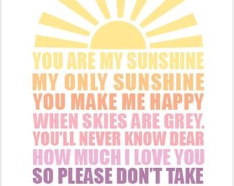 11x14 DIGITAL FILE- You Are My Sunshine- Nursery Print, Childrens Decor