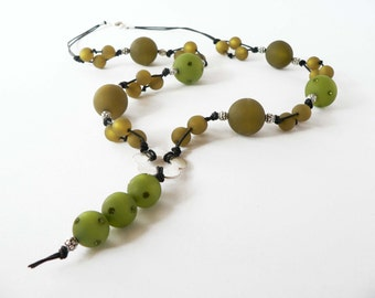 Statement green necklace handmade with green polaris beads and swarovsky element. ooak made in Italy.