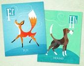 "Fox and Hound Alphabet Art by Oddly Olive, Tiffany Holesovsky - Set of Two 8"" x 10"" Epson Paper Giclée Prints"
