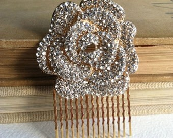 Gold hair Comb, SALE, gold bridal comb, Bridal hair comb, wedding hair comb, gold, art deco comb, flower, floral gold crystal rhinestone