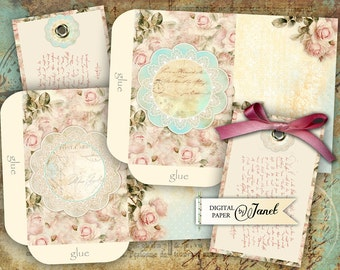 Romantic Envelopes - digital collage sheet - set of 2 sheet - Printable Download