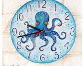 Made to Order The Blue Octopus Wall Clock, Ocean Home Decor for Children Baby Kid Boy Girl, wall clocks handmade