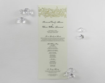 Gold Victorian Classic Scroll Wedding Program - Style 200
