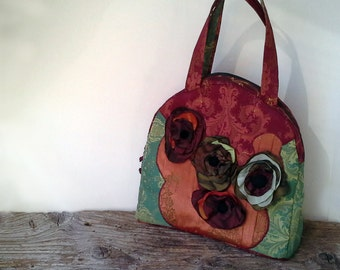 Women bag, women retro bag, uncommon bag, handmade bag, fabric bag,shoulder bag, flower brooch, taffeta brooch