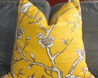 Yellow Pillow Cover, Decorative Pillow, Throw Pillow, Toss Pillow, Robert Allen, Yellow Bird, Cherry Blossom, Tree Branch, Home Decor