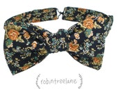 SWEET NAVY FLORAL men's square-cut bow tie // self-tie with adjustable neck strap