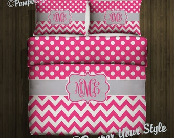 Polka dot and Chevron Duvet with Matching Sham(s) -  Personalize with Name or Monogram - Pick Your Color and Size - Create My Own Bedding