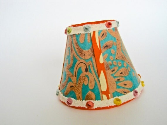 etsy sale small lamp shades retro lamp shade with fun funky design. Black Bedroom Furniture Sets. Home Design Ideas