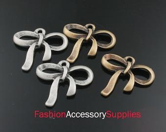 6pcs-20mm Antiqued Bronze,Silver Brass Ribbon charms,Pendants (A463)