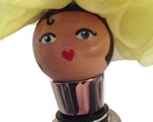 Wine stopper: Yellow flower hat, hand painted, doll, metal wine stopper
