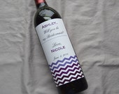 Modern Chevron Bridesmaid Wedding Wine Label- Will you be my Bridesmaid- Personalized Label