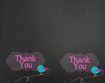 Custom  Thank You Cards for baby shower or sprinkle, new baby,birthday party, and more.  You choose colors.  Chalkboard inspired. Bird