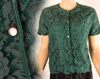 Adorable gorgeous emerald green XL Plus size 1950's vintage nylon lined lace button front round neck blouse  - DB117