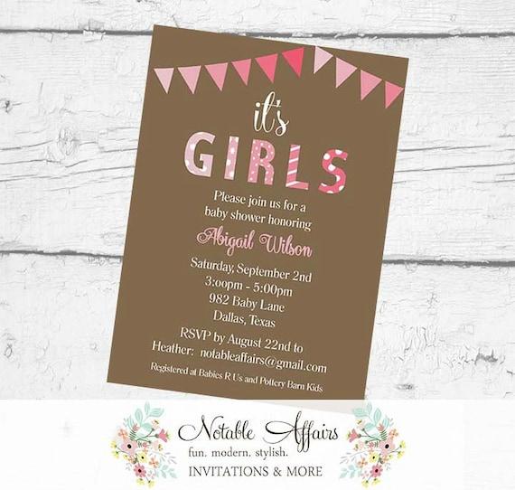 It\'s Girls Twins Bunting Baby Shower Polka Dots Stripes Invitation ...