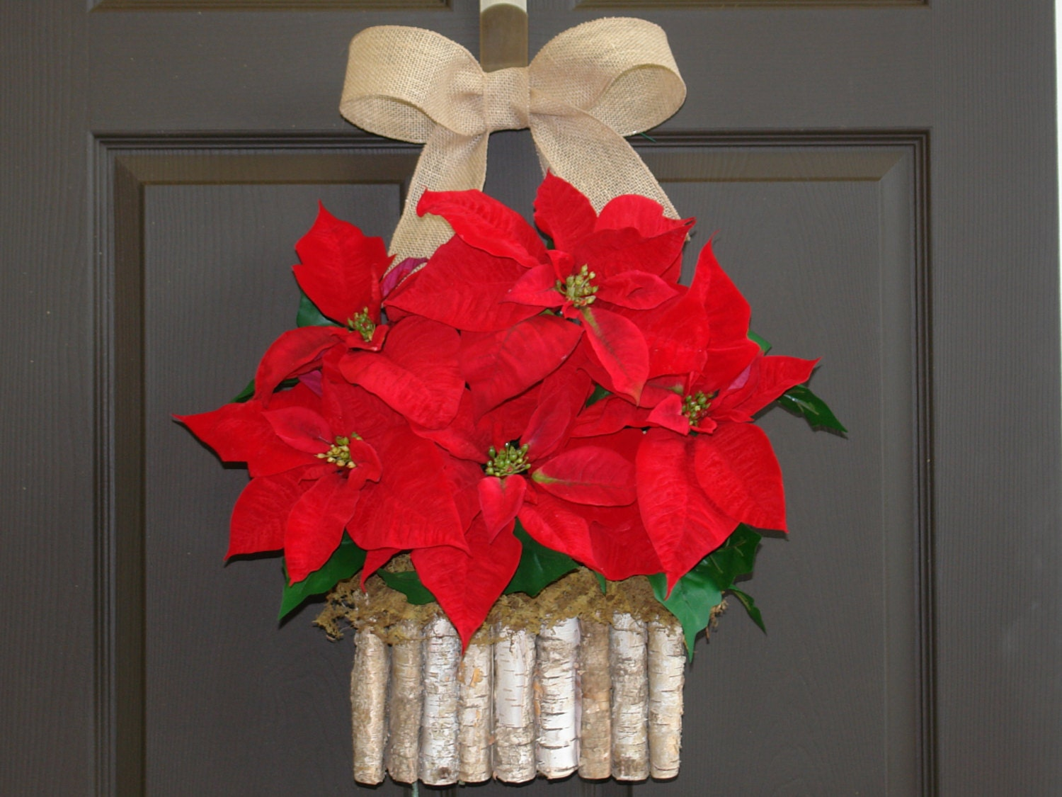 Christmas wreath Holiday Poinsettia wreath decorations front door decor birch bark wreath Christmas wreaths