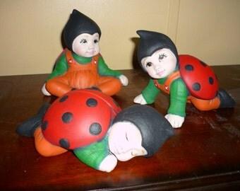 Handpainted Ceramic Ladybug Babies
