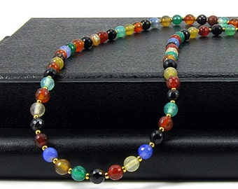 Long Multicolored Agate Necklace