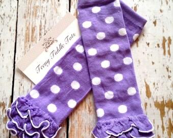Polka Dot Leg Warmers, Baby Leg Warmers, Purple Leg warmers with ruffles