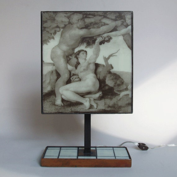 glass table lamp   michelangelo s adam amp eve   silkscreened on glass