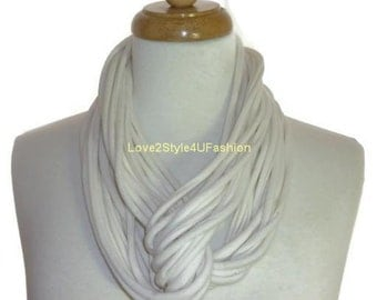 Gifts For Her, Infinity Scarf, Statement Necklaces, Gift, Gift For Him, White Scarf, Necklace, Gifts, Fashion Statement Accessories